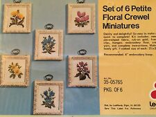 Petite Florals Pictures (set of 6)  by LeeWards - Crewel Embroidery