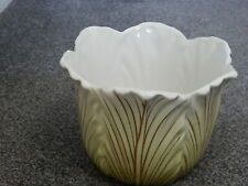 Vintage Green & Gold Leaf Design Ceramic Planter Plant Pot made in Italy