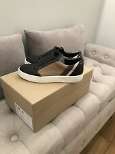 Burberry Women Salmond Leather/Cotton Check Sneakers Black Size 35