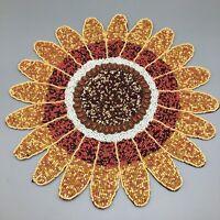 Nicole Miller Beaded Sunflower Placemat Flower Centerpiece Fall Thanksgiving NEW