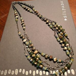 Silpada Green Pearl Jade Sterling Silver Necklace N1683