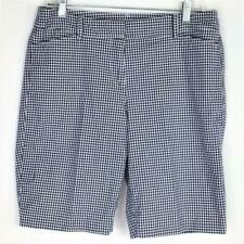 Talbots Perfect Shorts Womens 8 Cotton Spandex Gingham Plaid Pockets Blue White