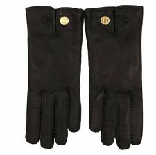 NEW TOM FORD LADIES  LUXURY BLACK EXTRA SOFT LEATHER LOGO GLOVES 8