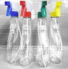 Trigger Spray Bottle FOUR PACK 4 x 500ml Tear Drop Clear - MULTIPLE COLOUR spray