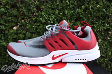 NIKE AIR PRESTO ESSENTIAL SZ 7 COOL GREY GYM RED WHITE BLACK 848187 008