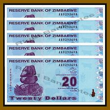 Zimbabwe 20 Dollars x 5 Pcs, 2009 P-95 Revised Trillion Unc