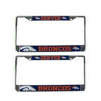 Brand New 2pc Set NFL Denver Broncos Car Truck Metal License Plate Frames