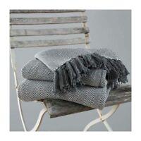 Country Club Grey Como Cotton Throws 170cm x 200cm Sofa Chair Bed NEW