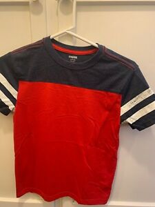 GYMBOREE BOYS SZ L 10-12 SHORT SLEEVE RED WHITE BLUE OLD SCHOOL STYLE TEE T-SHIR