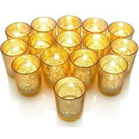 12 Pack Gold Glass Candle Holder Tealight Candlestick Event Table Decoration