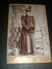 Old Cabinet Photograph woman hat muff by Higgins at Belfast c1890s Ref 514(15)