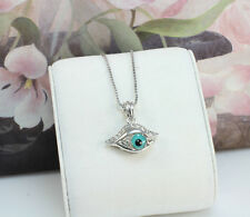 White Gold Filled Small Blue Evil Eye Amulet Pendant/Necklace, Simple Design