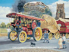 Garrett Steam Traction Engine enamel style metal sign 15cm x 20cm