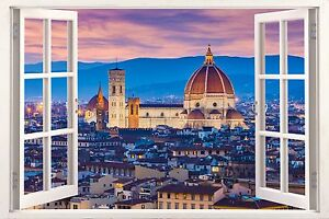 3D Window Effect on Canvas Twilight of Florence Italy Picture Wall Art Print