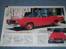 """1968 Dodge Super Bee Article """"Musclecar Therapy"""" 426 Hemi"""