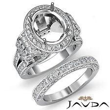 Diamond Engagement Semi Mount Ring Oval Pave Bridal Sets  14k Gold White 3.8Ct