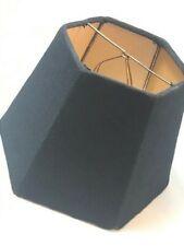 Vintage Black Hexagon Mica Fabric Lamp Shade Slip-On Fitter
