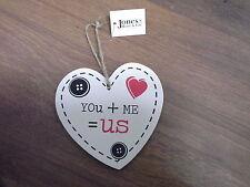 You + Me = Us  Wooden Heart Plaque