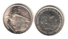 ESPAÑA 25 Pesetas FRANCO 1957 estrella 64 S/C del cartucho