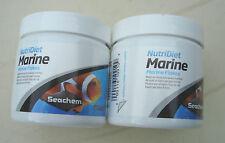 "SEACHEM NutriDiet ""MARINE"" marine flakes 2X 15gr containers (30gr ) fish food"