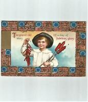 Antique July 4th Fireworks Firecrackers Signed Ellen Clapsaddle Beaded Postcard