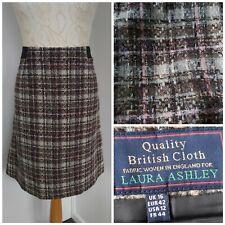 Laura Ashley Tweed Wool Skirt A Line Knee Length Pink Grey Brown UK 16