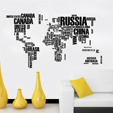Removable Letter World Map Quote Wall Stickers Art Vinyl Decal Home Decor Mural