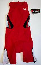 TYR Women's Medium Red Black White Tri Short John Zip Back USA Made CARBON New