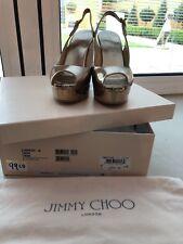 Jimmy Choo Rose Gold Peep Toe Wedge