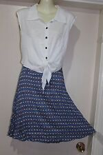 NWT VINTAGE 50'S STYLE MULTI-COLOURED SAIL BOAT PRINT DRESS,SZ14 BY STRIKING