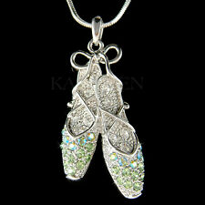 w Swarovski Crystal Green BALLERINA Slippers Ballet Dance Shoes Necklace Jewelry