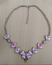 Vintage Style, Pink, Enamelled & Crystal BUTTERFLY Necklace