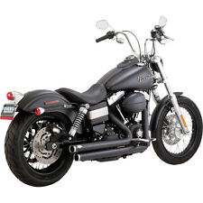 Vance and Hines Black Big Shots Staggered Exhaust for Harley Dyna 06-17