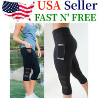 Womens Gym Workout Leggings Fitness Yoga Pants w/Pocket Black US