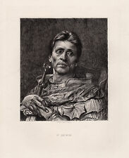 "Striking Edward John GREGORY 1800s Antique Etching ""St. George"" SIGNED COA"