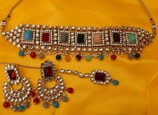 Indian Gold Ethnic Wedding Bollywood Pearl Kundan Choker Necklace Jewelry Set