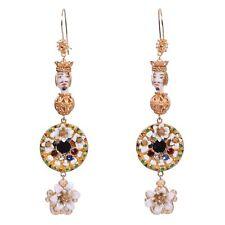 DOLCE & GABBANA RUNWAY Sicily Testa di Moro Flowers Crystal Earrings Gold 06043