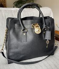 Michael Kors HAMILTON Black Saffiano Leather Two Way Satchel Shoulder Bag NEW