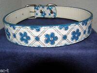 Schickes Halsband Blau - Weiß/Blau für Hunde und Katzen - Länge 43cm