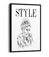 STYLE GIRL COCO -FLOAT EFFECT CANVAS WALL ART PIC PRINT- BLACK & WHITE