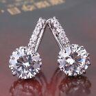 Engagement white sapphire brand new leverback 18k white gold filled earring