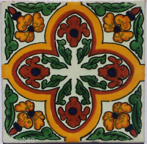 "C313 - Mexican Handmade Talavera Clay Tile Folk Art 4x4""  Handpainted"