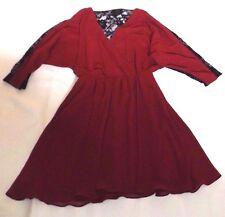 LADIES UK 10 EUR 38 ASOS MAROON WRAP STYLE BLACK LACE BACK SLEEVES PARTY DRESS