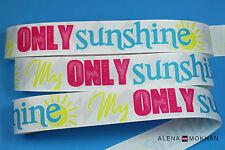 "5 yards 7/8"" My Only Sunshine Gray Chevron Printed Grosgrain Ribbon"