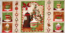 Christmas Apple Cider Cookie Treat Cotton Fabric Wilmington Hot Cider PANEL