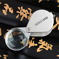 1PC 30X 21mm Folding Jeweler Loupe Magnifying Magnifier Hand Len Glass Cute Gift