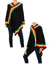 Women Winter Elegant Batwing Rasta Poncho Knit V-Neck Sweater Cape Coat Outwear