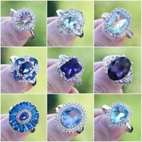 Elegant 925 Silver Rings Jewelry Blue Sapphire Women Wedding Ring Size 6-10