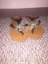 Bucco Black With Rhinestone Flower Sandals Size 10