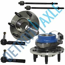6 pc Kit 2 Front Wheel Hub and Bearing Assembly ABS + 2 Outer + 2 Inner Tie Rods